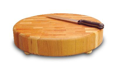Round Slab End Grain Chopping Block with Feet (Product ID = 1315)