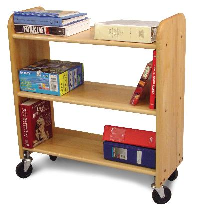 Library Book Truck Natural Birch - Flat Shelves (Product ID = 3314)