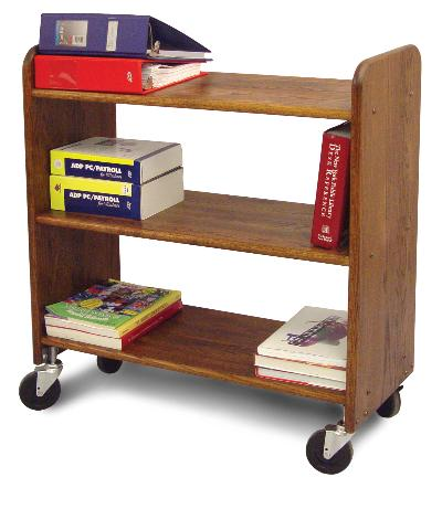Library Book Truck Walnut Stain Birch - Flat Shelves (Product ID = 3315)