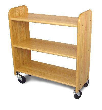 Library Book Truck Natural Oak Grain - Flat Shelves (Product ID = 3324)