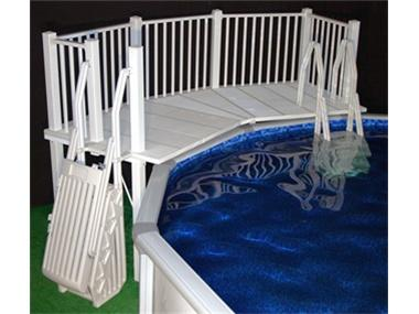 Above Ground Pool Fence   Resin Fan Pool Deck With Steps   White    AboveGroundPoolSafety.com