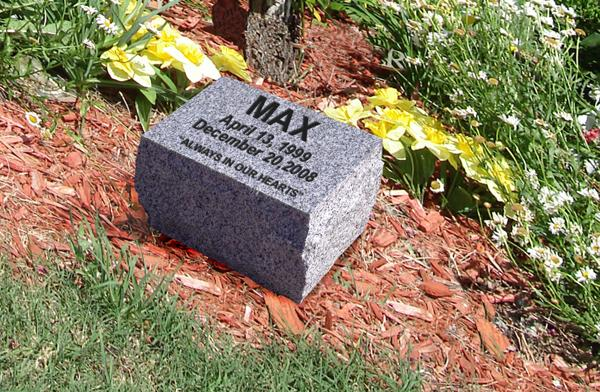 Custom Engraved Grey Granite Pet Memorial Stone Text Only