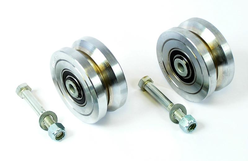 "Pair of 4"" Steel Ball Bearing V Groove Wheels for Sliding Gates (WHL-4-C)"