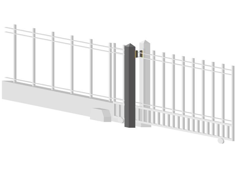 "Roller / post assembly for any width sliding gate  - 3"" tall rollers"