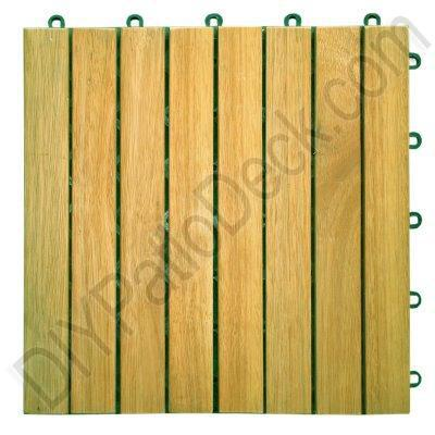 Teak Finish 8 Slat Acacia Plantation Hardwood Exterior Tiles