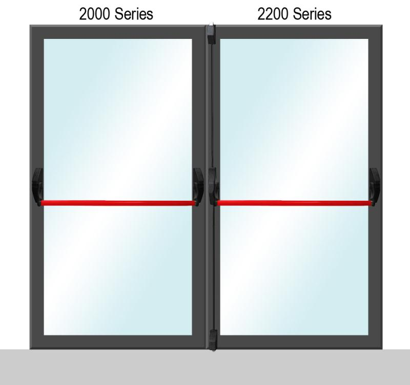 Sentry Safety 2000/2200 Series Glass Doors Panic Bar For Double Doors - Red Finish