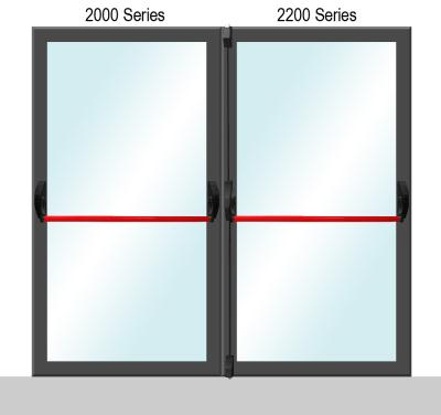 2000/2200 Series Panic Exit Dual Door Application for Glass Doors - Red Finish