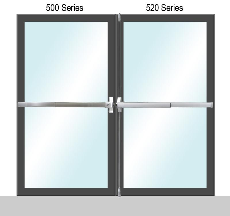 500/520 Series Panic Exit Dual Door Application - P (Painted)