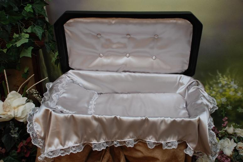 """Newnaks Small 18"""" Deluxe Pet Casket with Bedding - 4 Color Options - Black/Silver"""