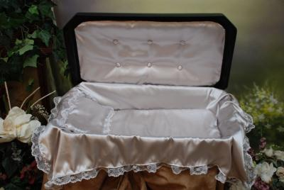 "32"" DELUXE Large Pet Casket with Bedding - 4 Color Options - by Newnaks  - Black/Silver"