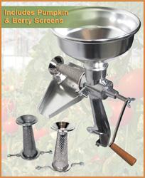 The Original All-Metal Squeezo Manual Tomato Strainer - Deluxe Kit