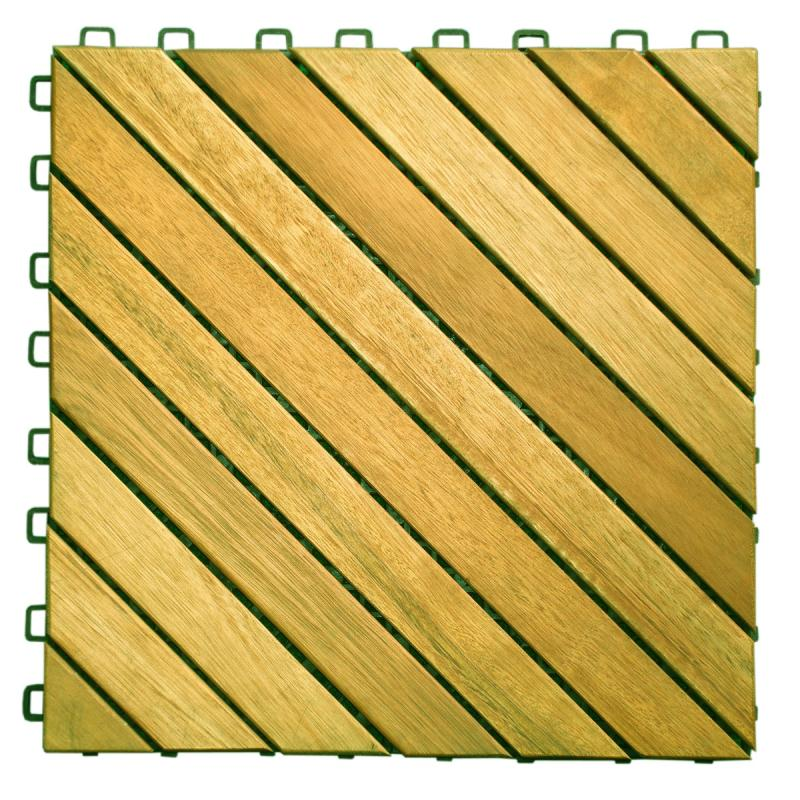 V368 Acacia Hardwood - 12 Diagonal Slat Design - Interlocking Wood Deck Tile