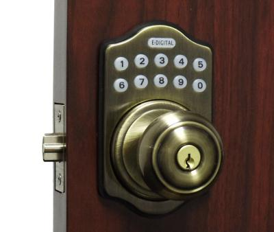 LockeyUSA Weather-proof E-Digital Electronic Knob Lock - E930R - Antique Brass