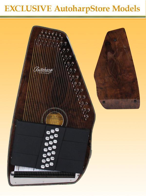 Oscar Schmidt OS11021FBWE Electric 21 Chord AutoHarp Burl Walnut