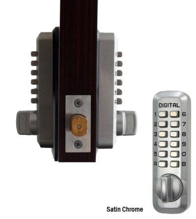 "LockeyUSA M230DC Dual Combination Deadlocking Spring Latch Lock - Satin Chrome - 2 3/8"" Backset"