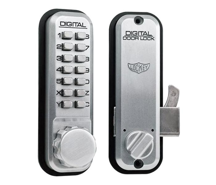 LockeyUSA 2500 Keyless Mechanical Sliding Door Lock - Satin Chrome