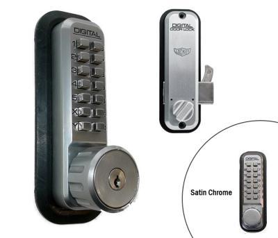 LockeyUSA 2500 Key Override Mechanical Sliding Door Lock - Satin Chrome