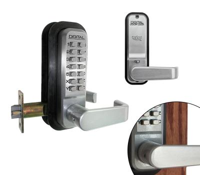 "LockeyUSA 2835 Weather-proof Keyless Mechanical Spring Latch Lever Door Lock - Satin Chrome - 2 3/8"" Backset"