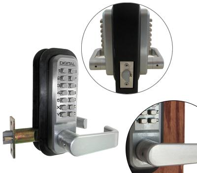 "LockeyUSA 2835 Weather-proof Dual Combination Keyless Mechanical Spring Latch Lever Lock - Satin Chrome - 2 3/8"" Backset"