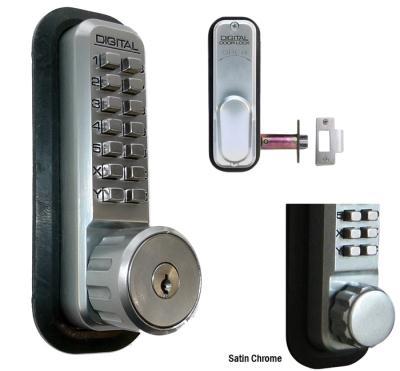 "LockeyUSA 2435 Key Override Deadlocking Spring Latch Lock w/ Hold Open  - Satin Chrome - 2 3/8"" Backset"