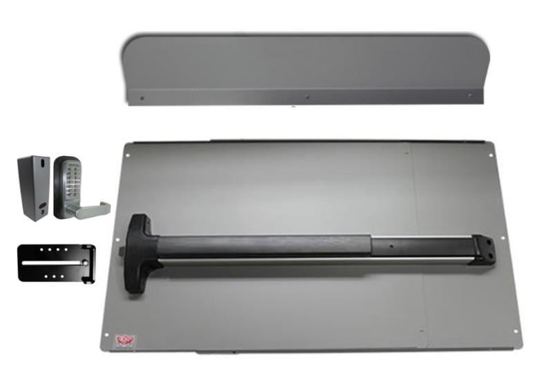 LockeyUSA Panic Bar Shield Security Kit w/ DETEX Panic Bar