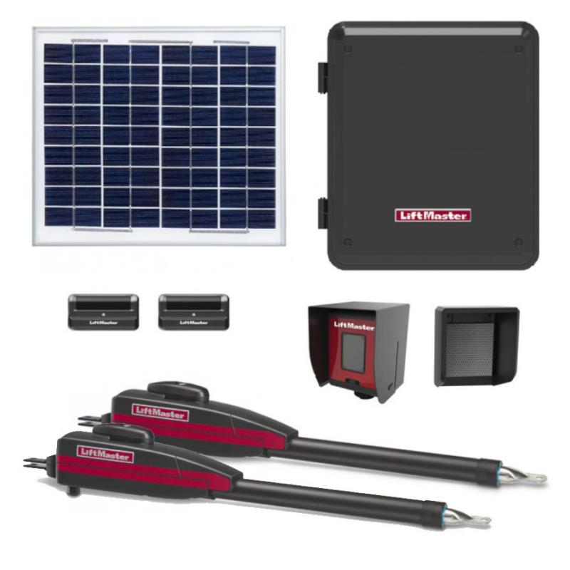 LiftMaster / Chamberlain LA-412-D Dual Swing Solar Gate Opener w/ 20w Solar Panel w/ MyQ Technology & Large Control Box