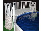 Above Ground Pool Fence - Resin Fan Pool Deck with Steps